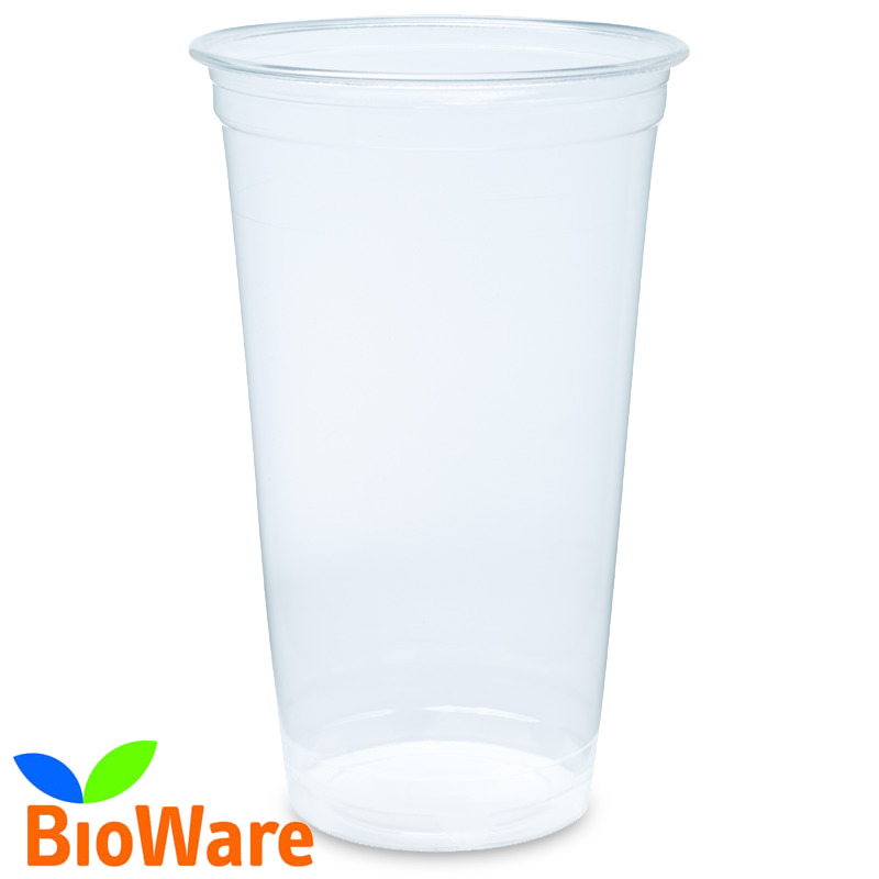 960 Kaltgetränkebecher PLA Bio 0,5 l Party Einweg glasklar mit Schaumrand
