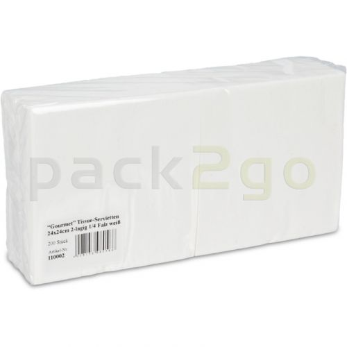 Tissue-servetten GOURMET, 24x24 1/4 vouw, 2-laags, kopvouw, celstofservetten - wit