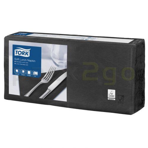 Tork Advanced tissue-servetten, 33x33cm 1/4, 3-laags, celstofservetten - zwart