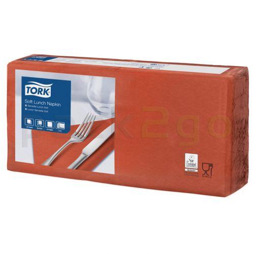 Tork Advanced Tissue-Servietten,33x33 1/4,3-lagig - terracotta - Zellstoffservietten farbige