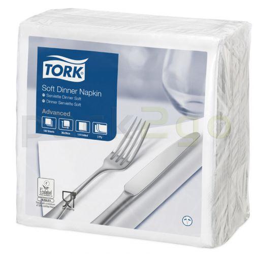 Tork Advanced tissue-servetten, 40x40 3-laags 1/4 gevouwen, celstofservetten - wit