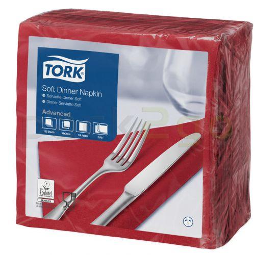 Tork Advanced Tissue-Servietten,40x40 1/4,3-lagig - bordeaux - Zellstoffservietten farbige (477599)