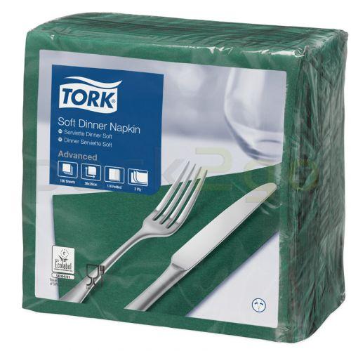 Tork Advanced Tissue-Servietten,40x40 1/4,3-lagig - dunkelgrün/moosgrün - Zellstoffservietten farbige (477604)