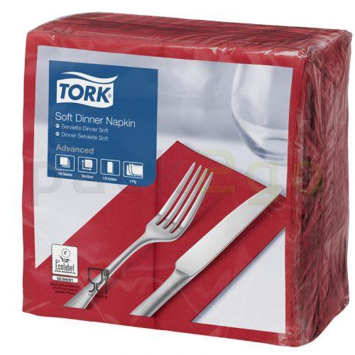 Tork Advanced Tissue-Servietten, 40x40 1/8 Buchfalz,3-lagig - bordeaux - Zellstoffservietten farbige (477618)