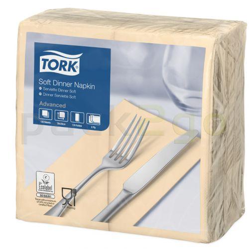 Tork Advanced tissue-servetten, 40x40 1/8 boekvouw, 3-laags, Celstofservetten - ivoor / champagne