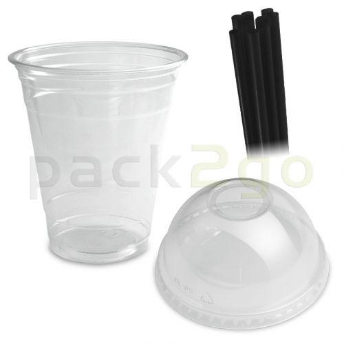 COMBI - Clear cups (smoothie bekers) - 12oz, 0,3 l -. PET met bolvormige deksel en rietjes