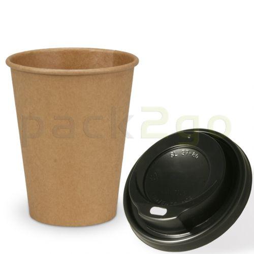 VOORDEELSET - Coffee To Go recycling koffiebekers - 8 oz, 200ml, bekers van kraftpapier met zwarte deksels
