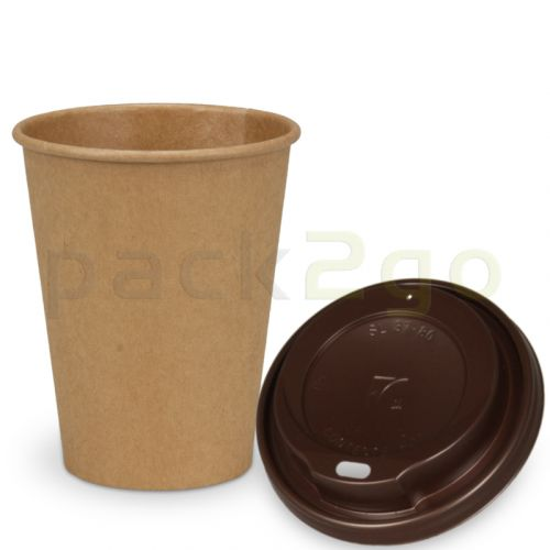 SPARSET - Coffee To Go Recycling Kaffeebecher - 8oz, 200ml, Kraftpapierbecher mit braunem Deckel
