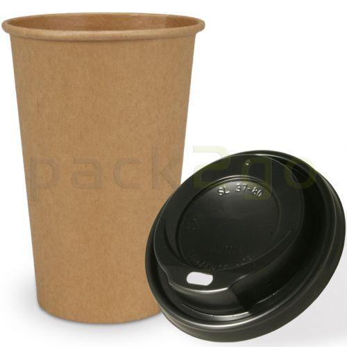 SPARSET - Coffee To Go Recycling Kaffeebecher - 16oz, 400ml, Kraftpapierbecher mit schwarzem Deckel