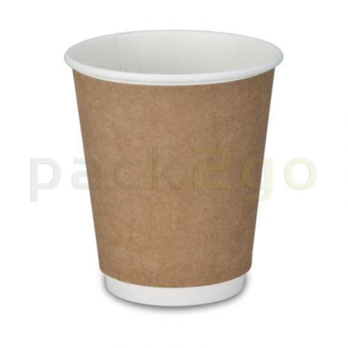 Doppelwand-Kaffeebecher, Recycling, Coffee to go Becher braun - 8oz, 200ml