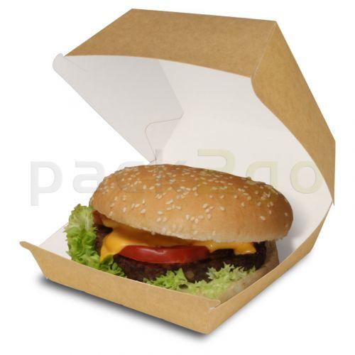 Hamburgerbox met klapdeksel bruin - grote hamburgerbox van karton