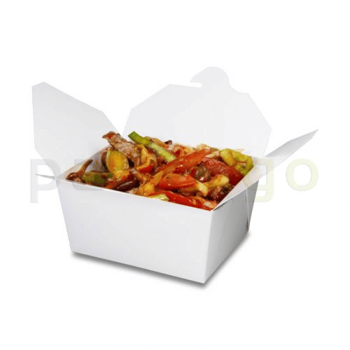 BioPak Foodcase - kleine snackbox met vouwdeksel, gecoat, wit