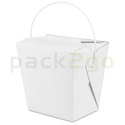 Vouwdoos met metalen handvat (FoldPak) - Asia-/noodle box wit onbedrukt - 32oz/1000ml XL