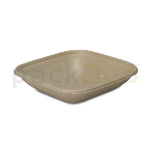 Schale aus Bagasse, quadratisch (kompostierbar),