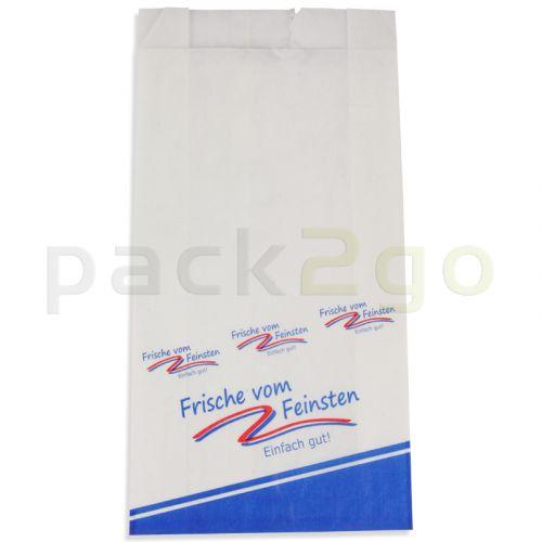 Metzgerfaltenbeutel 405, weiß Kraft bedruckt - ''Frische vom Feinsten''