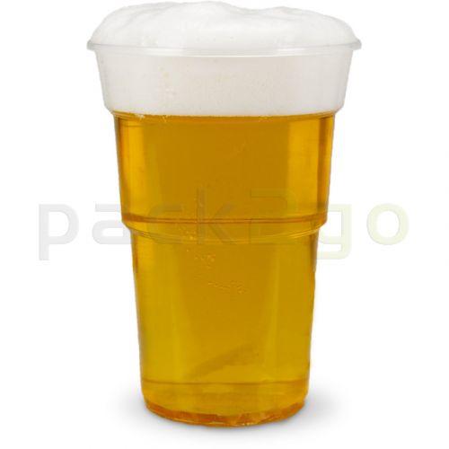plastic bekers, transparant helder, PP, Wegwerp-bierbekers met schuimrand - 0,5 l