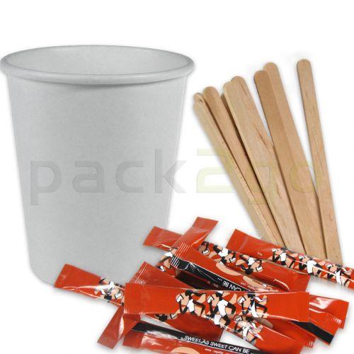 SPARPAKET - Coffee To Go Kaffeebecher weiß - 8oz, 200ml, inklusive Zucker + Rührstäbchen