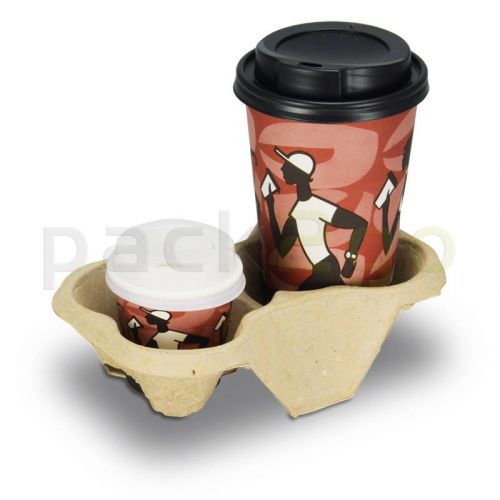 Chinet-Becherhalter, Pappe - Cup Carrier für 2 Coffee To Go-Becher