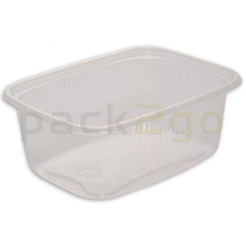 -Restposten- Feinkostbecher, Verpackungsbecher, PP, transparent, eckig - 300ml (Ohne Deckel)