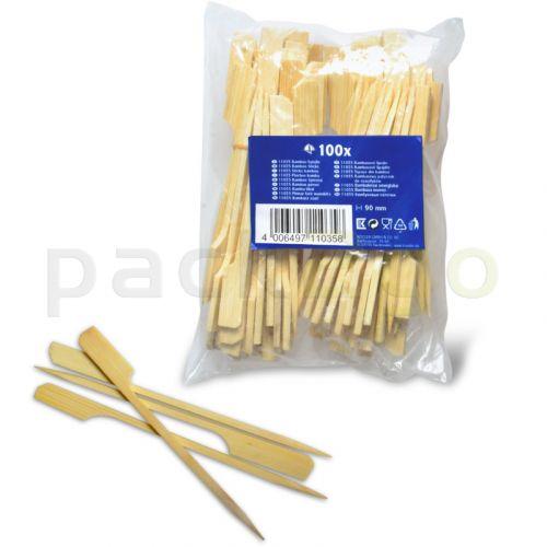 Bambusspieße, Holz mit Fähnchen - Satespießchen mit Blattende, Party-Catering, 90mm