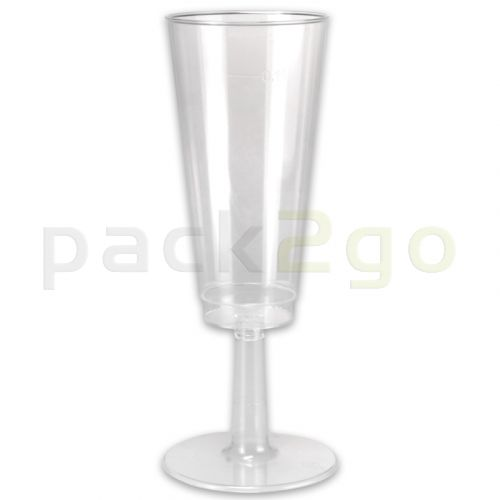 Einweg-Party-Sektglas 0,1L, Plastiksektglas glasklar - komplett Oberteil mit Steckfuß-Unterteil