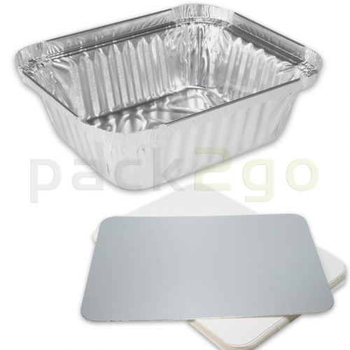 Aluminium bakjes rechthoekig incl. deksel - 146x120mm, 470ml, aluminium bakjes voor menu's