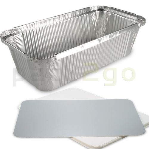 Aluminium schalen, rechthoekig incl. deksel - 214 x 110 mm, 940 ml, aluminium bakjes voor menu's