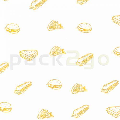 Burger-Papier, BIO-beschichtet (kompostierbar), fettdicht, gelb, Cheeseburger-Papier