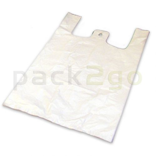 Hemdchen-Tragetaschen - ND-Polyethylen (HDPE), weiß 28+14x48cm