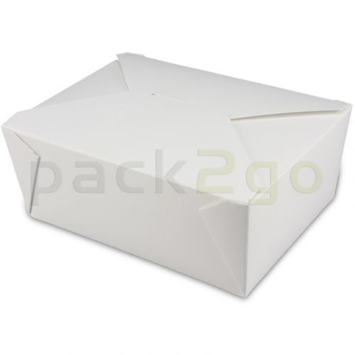 BioPak Foodcase - snackbox met vouwdeksel, gecoat, wit - 1300ml