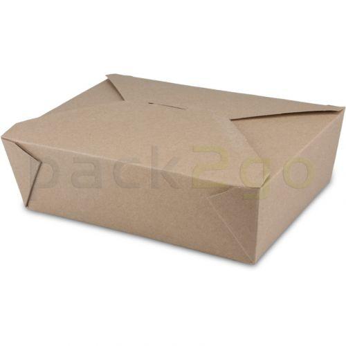 BioPak Foodcase - snackbox met vouwdeksel, gecoat, bruin - 2000ml