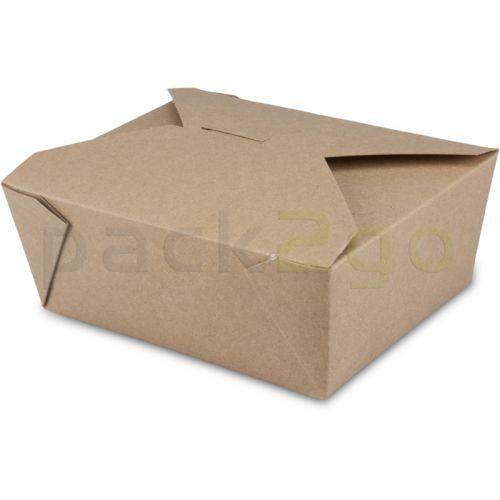 BioPak Foodcase - snackbox met vouwdeksel, gecoat, bruin - 1300ml
