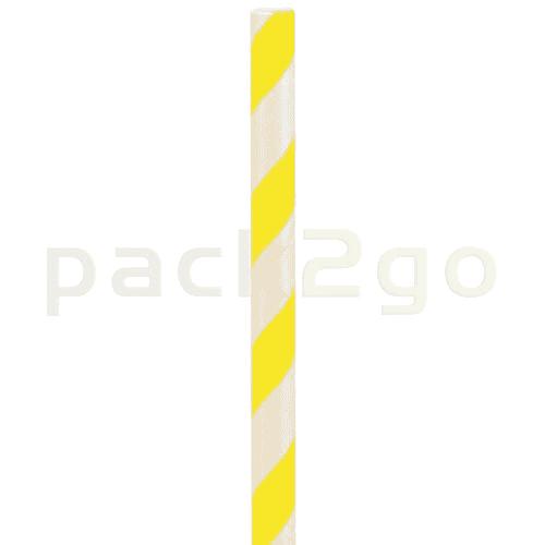 Kompostierbare Bio-Trinkhalme, Strohhalm aus Papier, starr - 22cm, Ø6mm - gelb/weiß