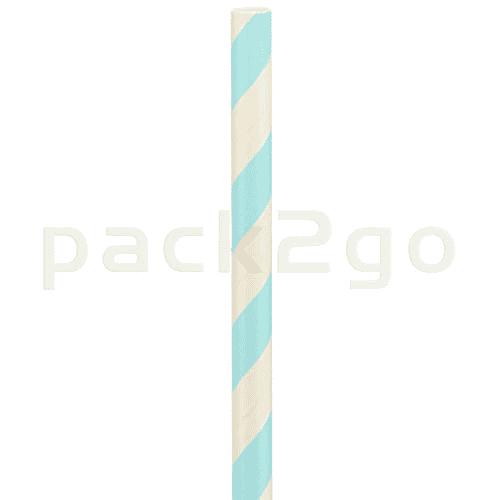 Kompostierbare Bio-Trinkhalme, Strohhalm aus Papier, starr - 22cm, Ø6mm - hellblau/weiß
