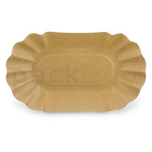 Kompostierbare Pappschalen Bio0B 10x17x3cm oval, braun - für Pommes Frites & Currywurst