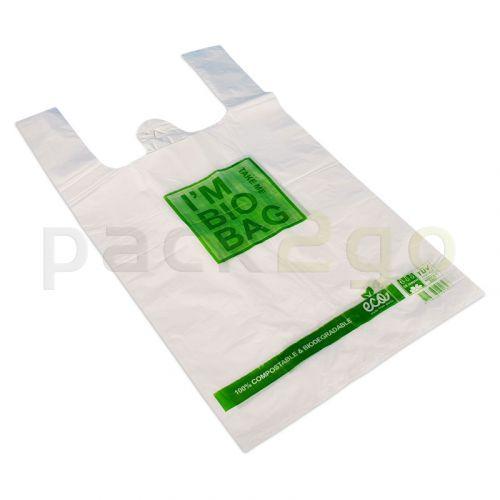 """Kompostierbare Hemdchentragetasche """"Bio Bag"""" aus PLA, weiß 28+14x48cm"""