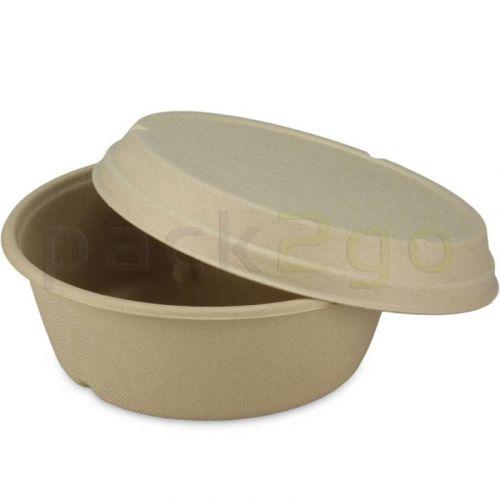 Kompostierbare Deckel für Bagasse-Schalen 900/1200m, Bagasse, braun, Ø194mm
