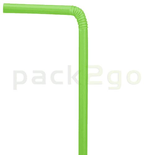 Kompostierbare Trinkhalme aus PLA, flexibel - 21cm, Ø6mm - grün