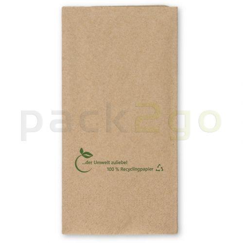 Recycling Tissue-Servietten, 33x33 1/8 Falz, 2-lagig Kopffalz - braun - Zellstoffservietten