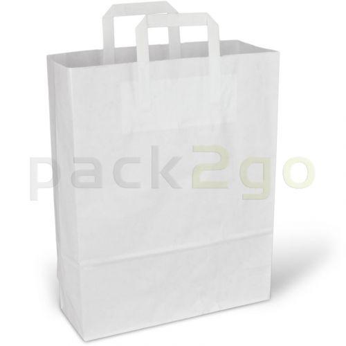 Papiertragetaschen aus 80g Kraftpapier - 32+12x40cm, weiß