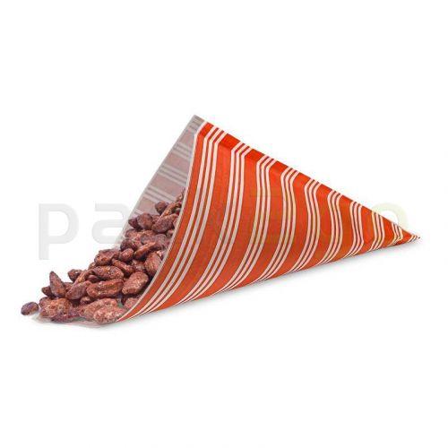 Papierspitztüten 19cm, für 125g Pommes, rot/weiß Kraftpapier