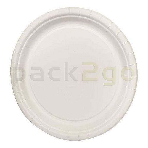 Pappteller / Grillteller rund Ø26cm flach, Bio-beschichtet (Frischfaser)