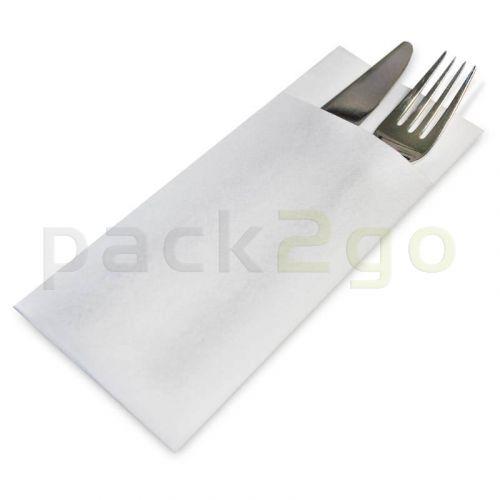 Serviettentaschen für Besteck aus Airlaid, Besteckserviette 33x40cm - weiß