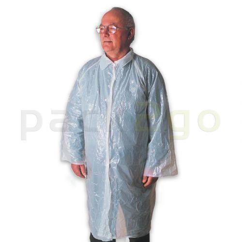 Einweg-Besuchermäntel, weiß LDPE, Einwegbekleidung mit Druckknöpfen