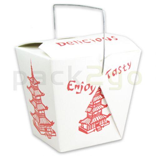 Vouwdoos met metalen handvat (FoldPak) voor Asia box-to-go - Chinees pagode-motief - 26oz/750ml