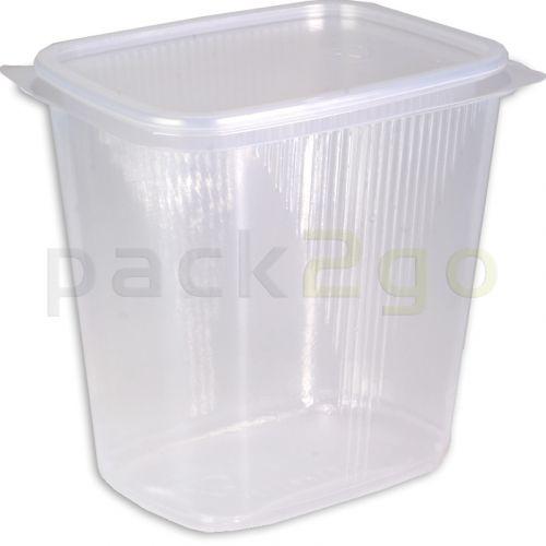 Feinkostbecher, Verpackungsbecher mit Deckel, klar, eckig (Kombipack) - 500ml