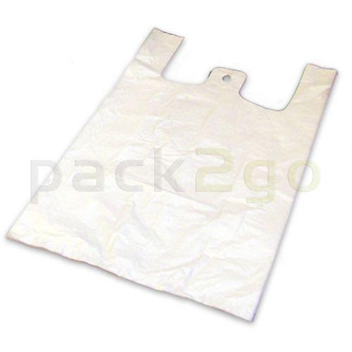 Hemdchen-Tragetaschen - Hochdruck-Polyethylen (LDPE), weiß, 28+14x50cm