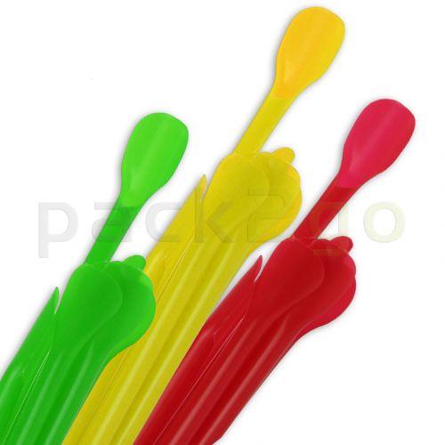 Lepelrietjes voor smoothies en slush, rietje met lepel - 24cm, 6mm, ingedeeld per kleur
