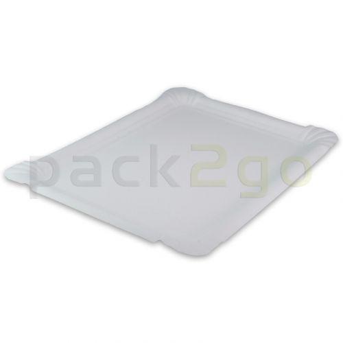 Pappteller eckig - 13x20cm TOPKRAFT, papierbeschichtet, Frischfaser