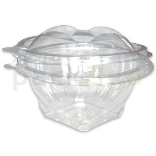 Saladebakjes rond - PET doorzichtig met deksel - 750ml